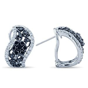 White and Black Diamond Omega Back Earrings In 14K White Gold