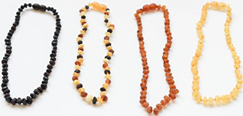 Amber Teething Necklace - Certified Natural, Anti-inflammatory, Teething Pain Relief and Reduction, with Authentic Amber. Safety Clasp and Highest Quality, with Satisfaction Gaurantee - 1