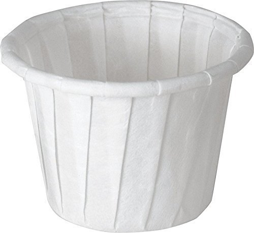 SOLO Cup Company White Jello Shot Paper Souffle Portion Cups Treated Paper Pleated Soufflé Portion Cup, 1 oz, 250 piece
