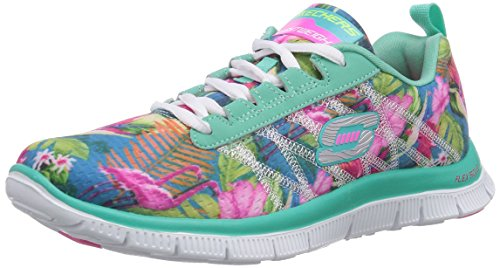 Skechers Flex Appeal Floral Bloom Aqua Lace Up chaussures