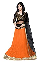 JIYA FASHION NEW DESIGNER LEHENGA ORANGE+BLACK