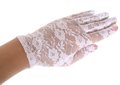 Ashopz Womens Party Sexy Lace Wedding Dress Short Glove,White, White 8.27 inch, One Size
