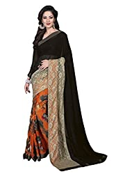 Vishal Blue & Orange Georgette Saree with blouse piece