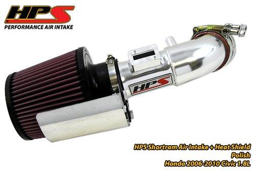 06-11 Honda Civic DX EX LX 1.8L HPS Short ram Air Intake Kit Polish 07 08 09 (07 Honda Civic Ex Cold Air Intake compare prices)