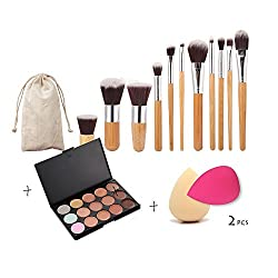 Imported 11 x Makeup Brush + 15-Color Concealer Palette + 2 x Cosmetic Sponge