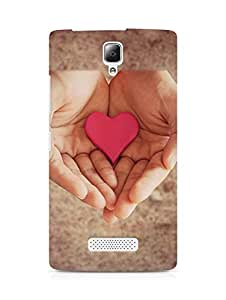 Amez designer printed 3d premium high quality back case cover for Lenovo A2010 (Pink Heart In Hands)