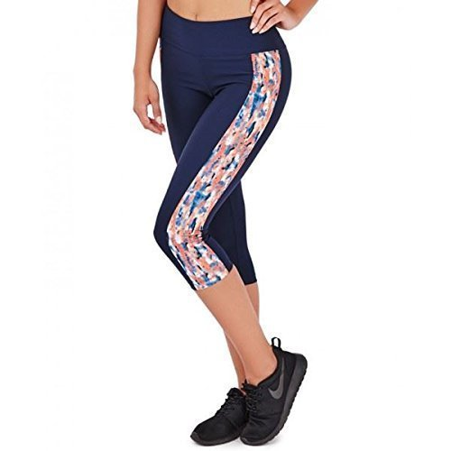 South Spiaggia, Donna Vibrante Fitness Palestra, Allenamento Pantaloni Leggings Pantaloni - Blu Scuro Splash Tre Quarti, 8 / X-Small