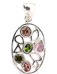 Exotic India Faceted Pink And Green Tourmaline Pendant - Sterling Silver