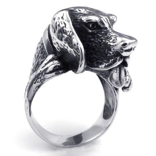 (キチシュウ)Aooazジュエリー メンズステンレスリング指輪 3D犬のデザイン 秋田犬 ハチ公 ブラックとシルバー 高品質のアクセサリー 日本サイズ17号(USサイズ8号)