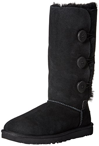 Ugg Women's Bailey Button Triplet Boot, Black, 6 M US