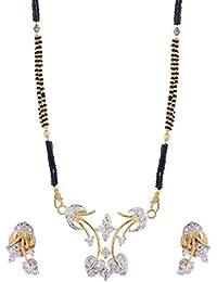 Jewelstone 22 K Gold & Rhodium Plated American Diamond Mangalsutra Set With Earrings & Triple Black Beaded Chain - B01FM9UP8U