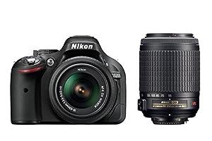 Nikon D5200 Appareil photo numérique Reflex 24.1 Kit + Objectif 18-55 mm + Objectif 55-200 mm DX VR Noir
