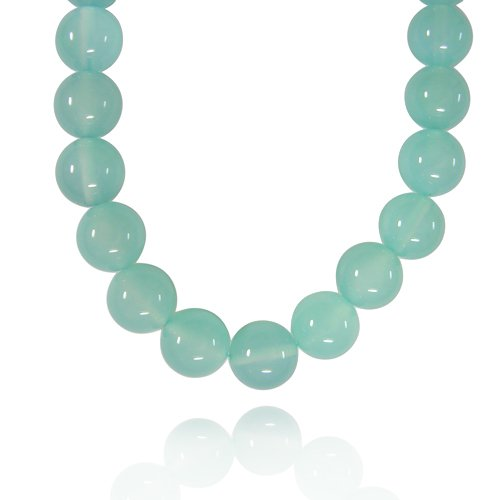 12mm Round Sea Blue Chalcedony Bead Necklace, 50