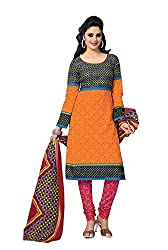 Aryahi Womens's Cotton Dress Material (70349CVAR_Orange )