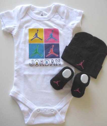 Jordan Baby Shoulder Bodysuit, Booties and Cap 0-6 Months with