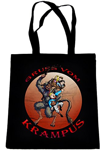 Gruss-Vom-Krampus-on-Black-Tote-Book-Bag-Gothic-Christmas-Gift-Handbag