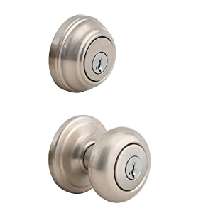 Kwikset 992 Juno Entry Knob and Double Cylinder Deadbolt Combo Pack featuring SmartKey® in Satin Nickel