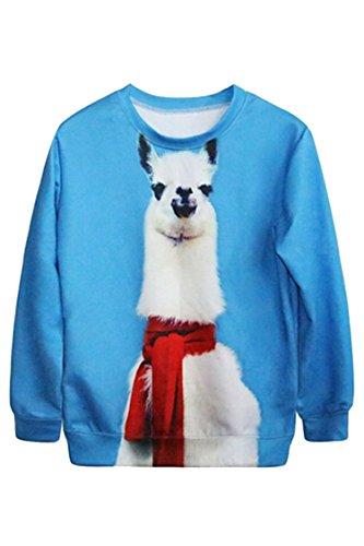 Pink Queen Long Sleeve Digital Animal Print Crew Neck Sweaters Sweatshirt (Lama pacos)