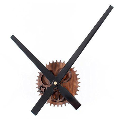 ZLYC 12 Inch Vintage Creative European Style Novelty Simple DIY Quartz Gear Wood Tone Dial Wall Clock