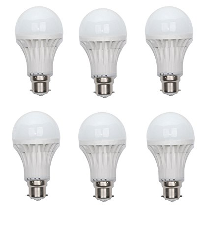 9W Bright White B22 LED Bulb (Set of 6)