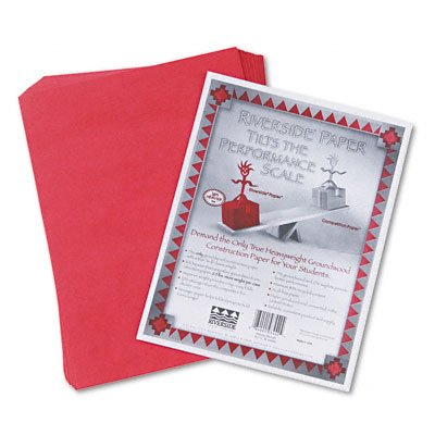 Pacon 103443 Riverside Construction Paper, 76 lbs., 12 x 18, Holiday Red, 50 Sheets/Pack