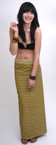 Sarong/Lungi Unisex 'Sandy & Simon', dark yellow patterned, 186x120 cm