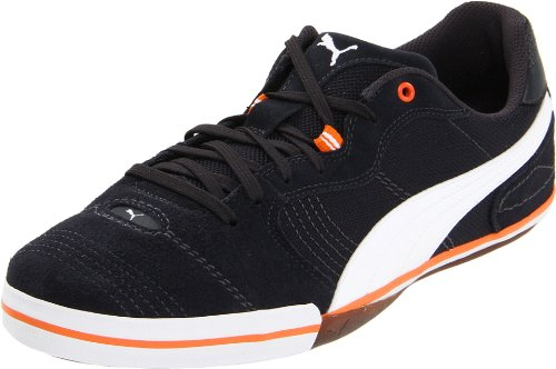 PUMA Unisex Esito Vulcanized Sala Soccer Sneaker,Dark Navy/White/Team Orange,US Women's 2.5/US Men's 4