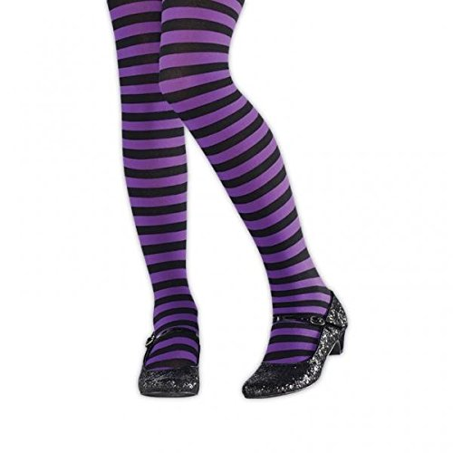 Purple and Black Striped Kids Tights