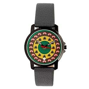 India Circus Circles in Circles PU Leather Women's Wrist Watch