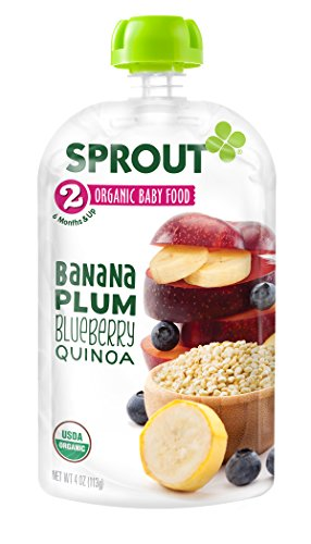 Sprout Organic Baby Food Stage 2 Pouches, Banana Plum Blueberry Quinoa, 4 Ounce (Pack of 5)