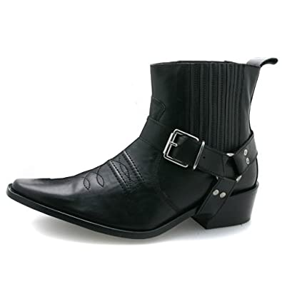 New Mens Black Leather Western Boots UK 7