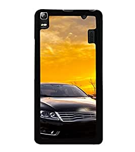 Fuson Premium 2D Back Case Cover Stylish Black car With White Background Degined For Lenovo A7000