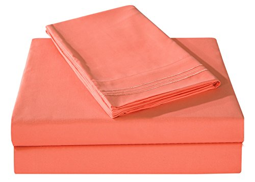Honeymoon Embroidered 1800 Brushed Microfiber Ultra Soft Queen Bed Sheet Set, Coral (Coral Sheet Set compare prices)