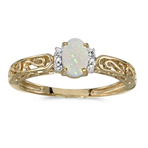 10k Yellow Gold Oval Opal And Diamond Ring (Size 8)