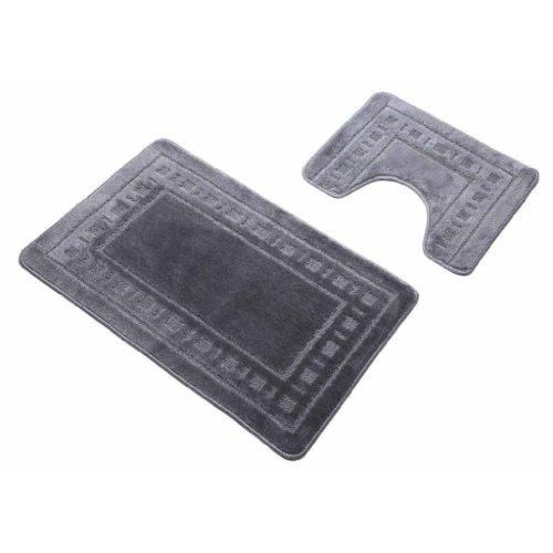 Grey Silver Armoni Bath Mat Bathroom 2 Piece Bath & Pedestal Mat Set Non Slip Backing by Quality Linen and Towels