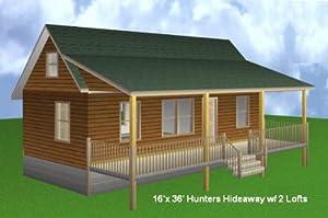 Amazon.com: 16x36 Cabin w/ 2 Loft Plans Package, Blueprints, Material ...