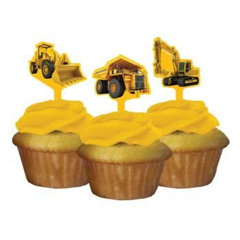Construction Zone Party Pick Cupcake Decorations (12 ct) - 1
