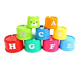 Foxnovo Non-Toxic Discovery Toys Educational Baby Toddler Measure Up Stacking Cups