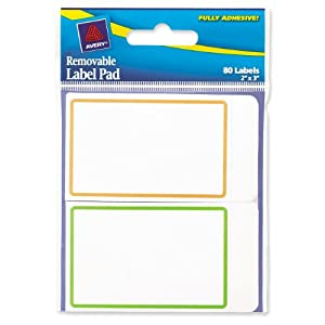 Avery Removable Label Pad, 2 x 3 Inches, Assorted Borders, 80 Labels (22019)