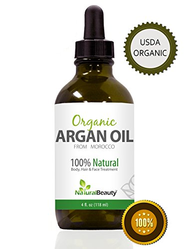 Moroccan Argan Oil - For Amazing Hair, Face, Skin, & Nails, Our 100% Natural & Organic Anti-Aging Argan Oil Dramatically Reduces Wrinkles, Moisturizes Skins and Prevents Frizz. This Powerful Antioxidant Gives Hair, Skin & Nails Renewed Life, Strength and Vitality, Big Bottle, By Natural Beauty Brand