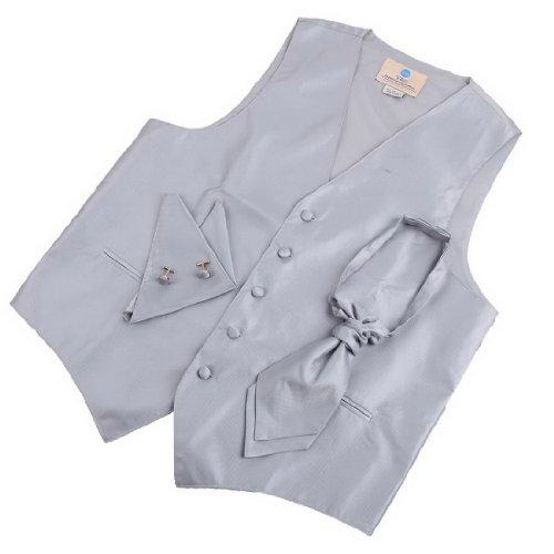 VS2002 Silver Soild Best Mens Vests Cufflinks Hanky Ascot Tie Set By Y&G