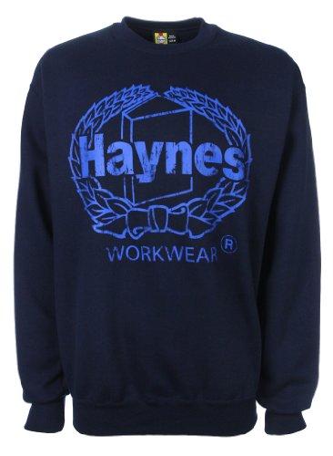 Haynes Work Wear Mens Heavyweight Brushed Fleece Printed Crewneck Sweatshirt