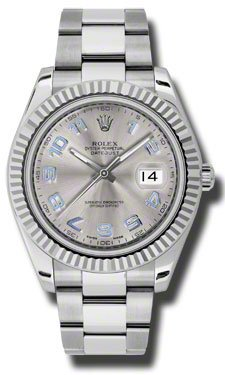 Rolex Datejust II Grey Dial White Gold Bezel Stainless Steel Mens Watch 116334GYBLAO