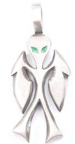 Neon Green Eyes Alien Pewter Pendant Necklace