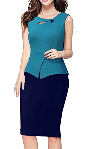 Merope J Womens Floral Patchwork Peplum Sleeveless Summer Office Work Dress (L, Blue+Navy) (Lil Girls Prom Dresses compare prices)