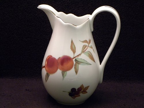 Royal Worcester Evesham Gold Porcelain 8-1/2-Inch Fluted Pitcher-Vase