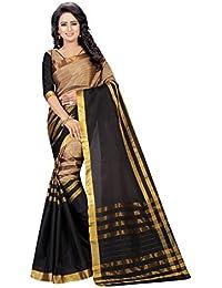 Pramukh Saris Silk Saree (P1041 Black_Black,Gold)