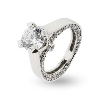 Romantic Brilliant Cut CZ Sterling Silver Engagement Ring Size 6 (Sizes 5 6 7 8 Available)