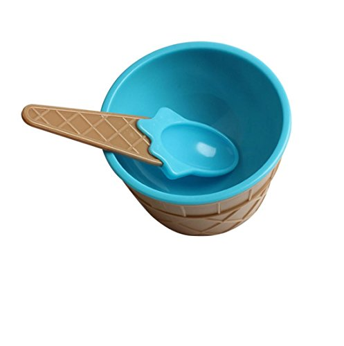 AMA(TM) Kids Children Ice Cream Bowls with Spoon Ice Cream Weed Cup Dessert Gifts (Blue) (Weed Spoon Bowl compare prices)