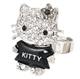 Adorable Full Body Crystal and Black Acrylic Ring - Size Adjustable